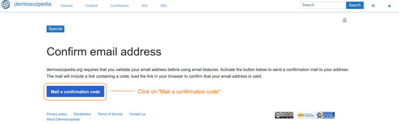 "View of the ""Confirmation email"" button"